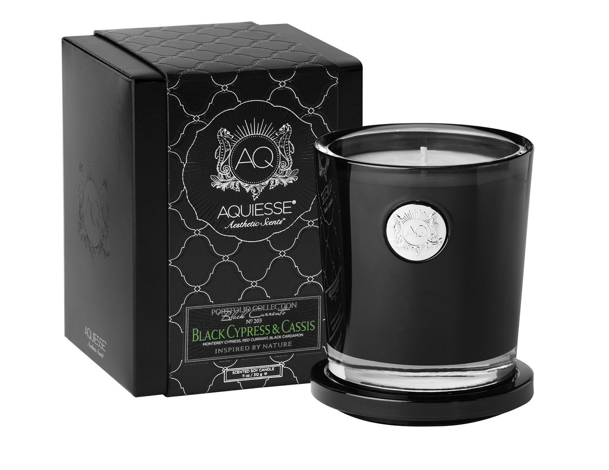 Black Cypress & Cassis Candle in Glass - Aquiesse