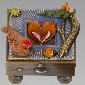 Mullanium Wishbox - Rust Bird on Blue Frame