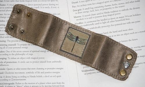 Dragonfly Leather Cuff