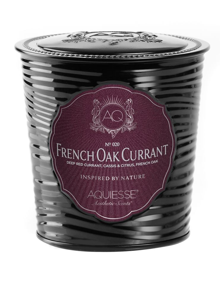 French Oak Currant Candle in Decorative Tin - Aquiesse