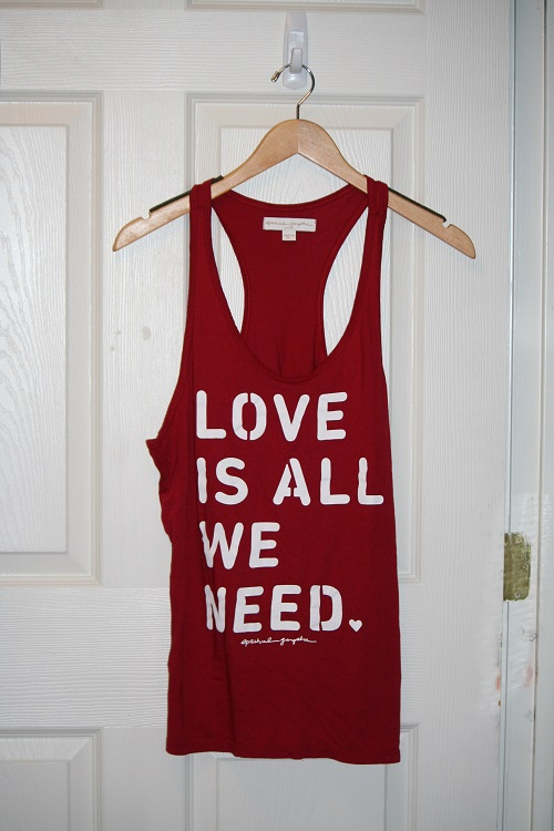 Spiritual Gangster Love Is All We Need Favorite Racerback Tank Sayulita Red