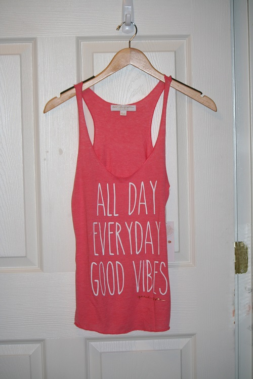 Spiritual Gangster All Day Everyday Good Vibes Racerback Burnout Tank Coral