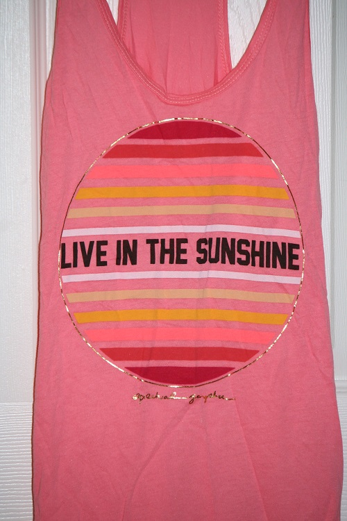 Spiritual Gangster Live in the Sun Gradient Favorite Racerback Tank Coral