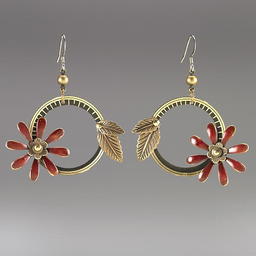 Large Red Flower Steampunk Earrings by Mullanium