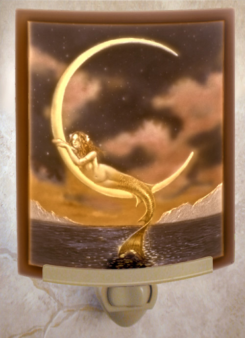 Mermaid & The Moon Colored Nightlight - David Delamare