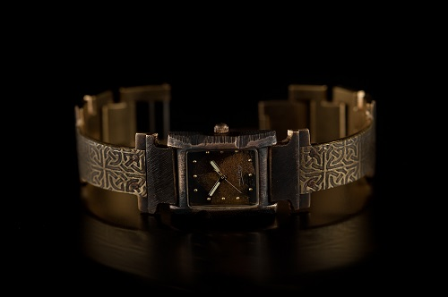 Watch - Small Rectangular Case - Brass Celtic Design on Narrow Band