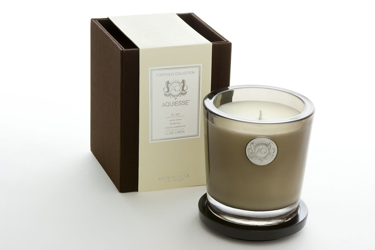 Luxe Linen Candle in Glass - Aquiesse