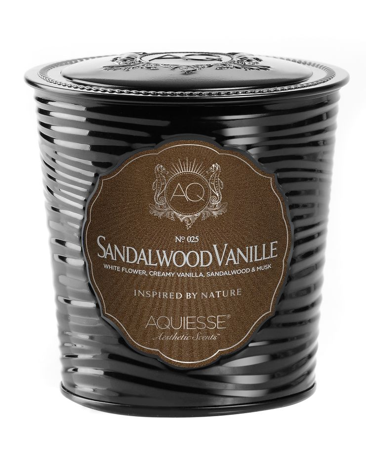 Sandalwood Vanille Candle in Decorative Tin - Aquiesse