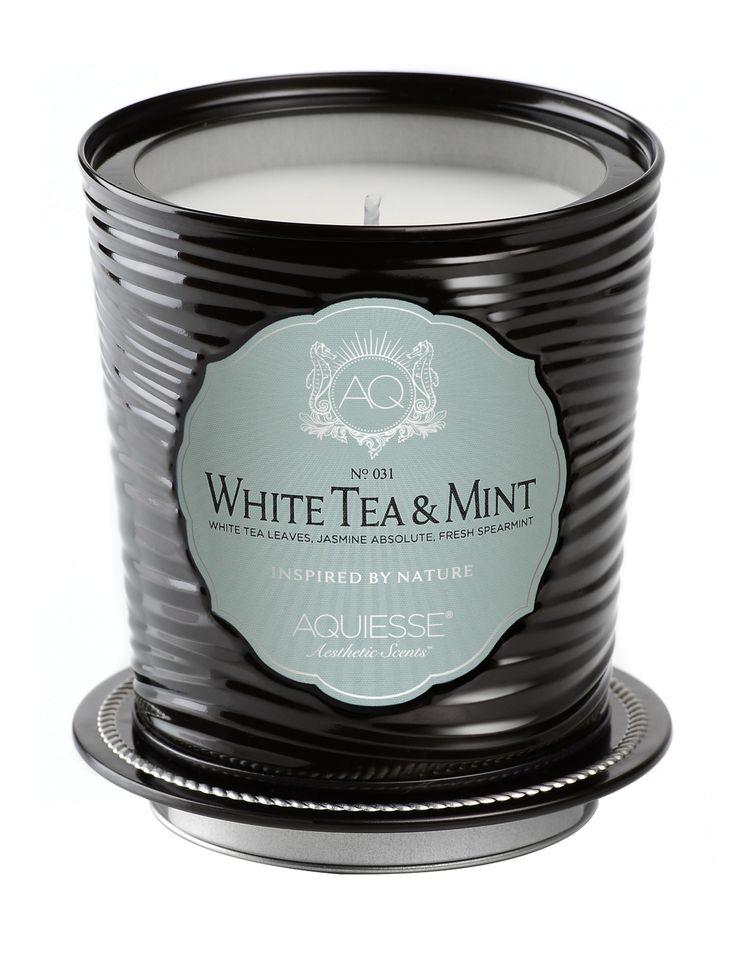White Tea & Mint Candle in Decorative Tin - Aquiesse