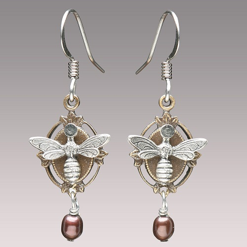 Bees with pearl Steampunk Earrings by Mullanium