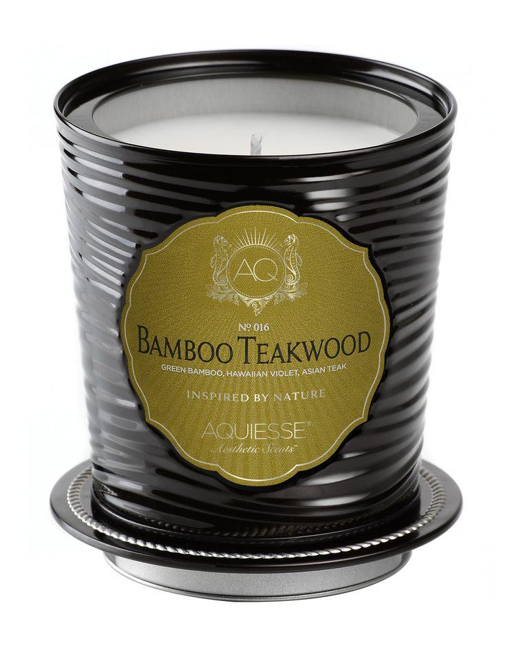 Bamboo Teakwood Candle in Decorative Tin - Aquiesse