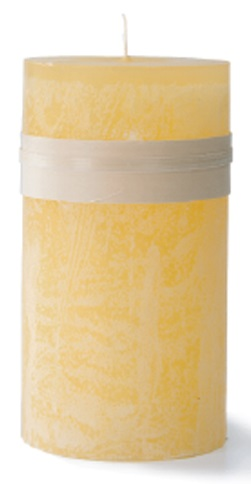 Timber Pillar Candle - Pale Yellow