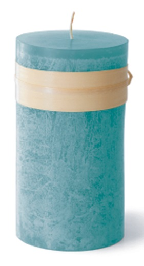 Timber Pillar Candle - Sea Glass
