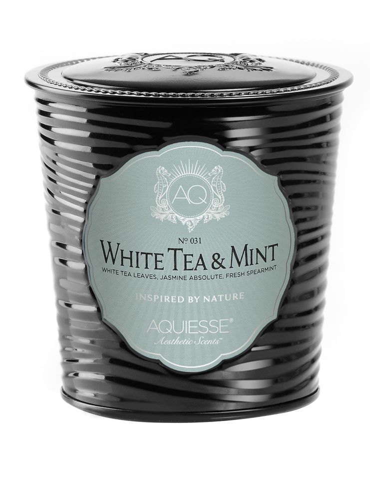 White Tea & Mint Candle in Decorative Tin - Aquiesse