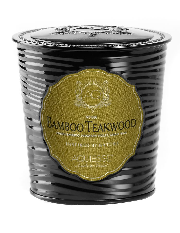Bamboo Teakwood Candle in Decorative Tin - Aquiesse